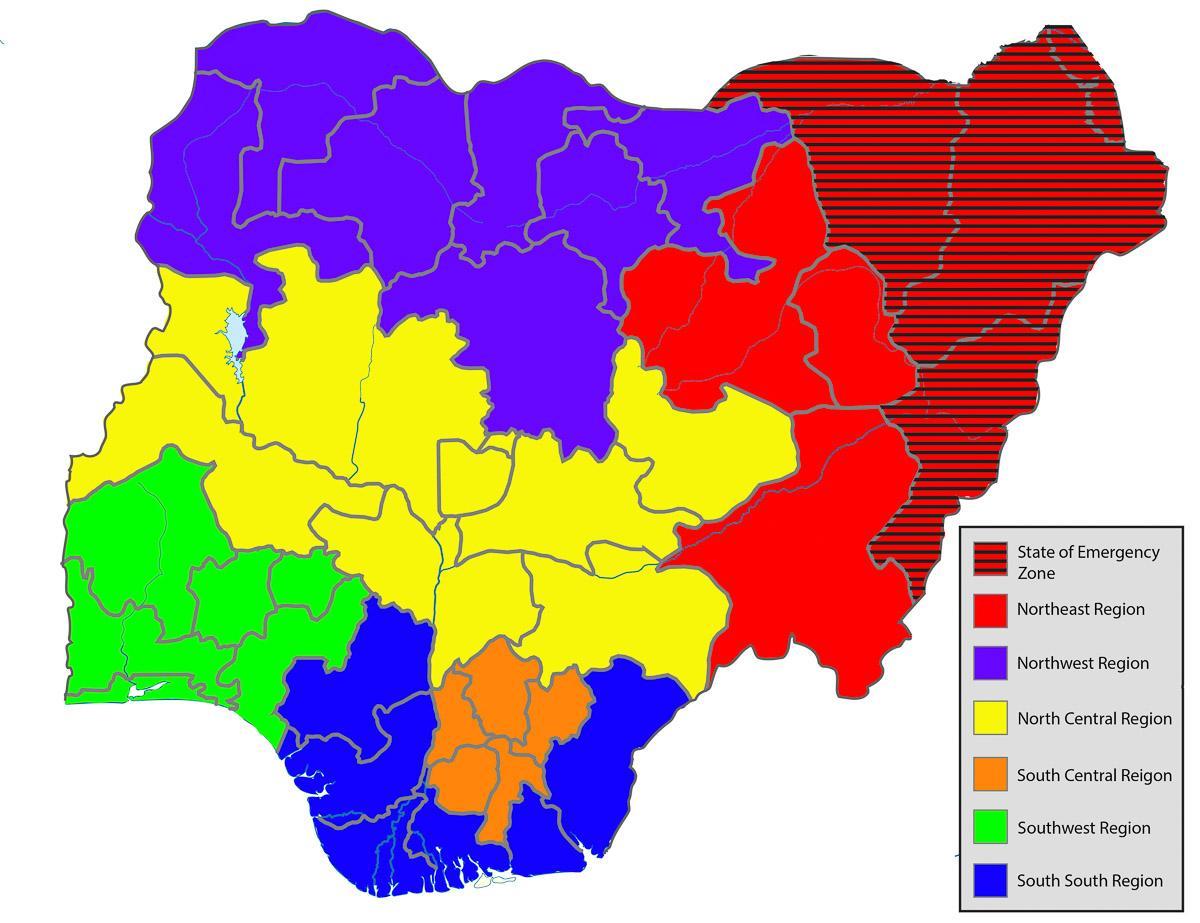 Afrika Karte Staaten.Nigeria Bundesstaaten Karte Der Nigerianische Karte Mit Den