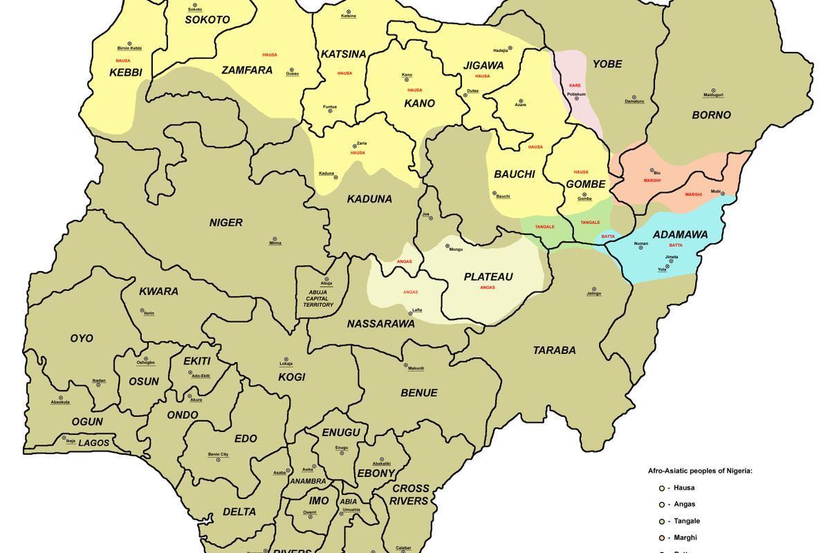 Afrika Karte Staaten.Karte Von Nigeria Mit Staaten Karte Von Nigeria Mit 36 Staaten